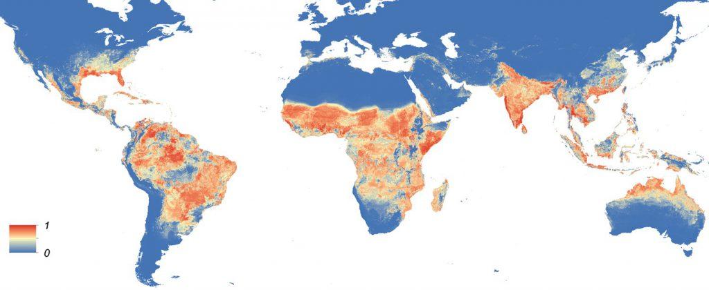 Distribuição global dos vetores de arbovírus Aedes aegypti e Ae. albopictus.